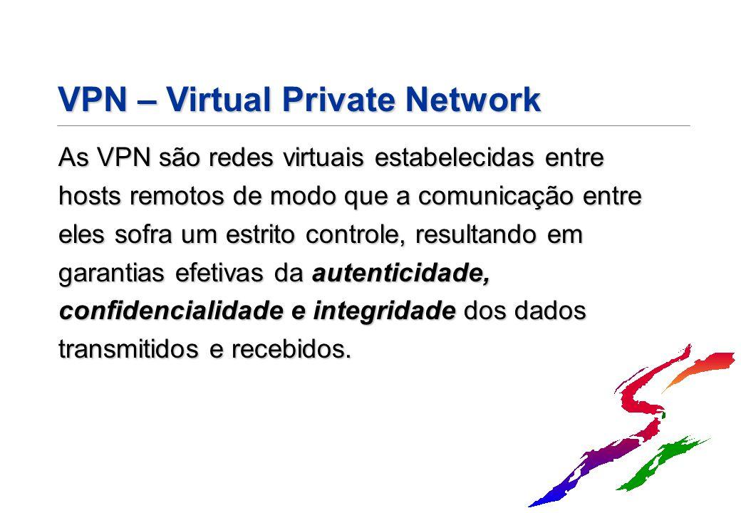 VPN – Virtual Private Network As VPN são redes virtuais estabelecidas entre hosts remotos de modo que a comunicação entre eles sofra um estrito contro