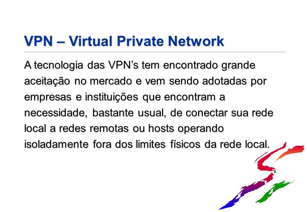 VPN – Virtual Private Network A tecnologia das VPN's tem encontrado grande aceitação no mercado e vem sendo adotadas por empresas e instituições que e