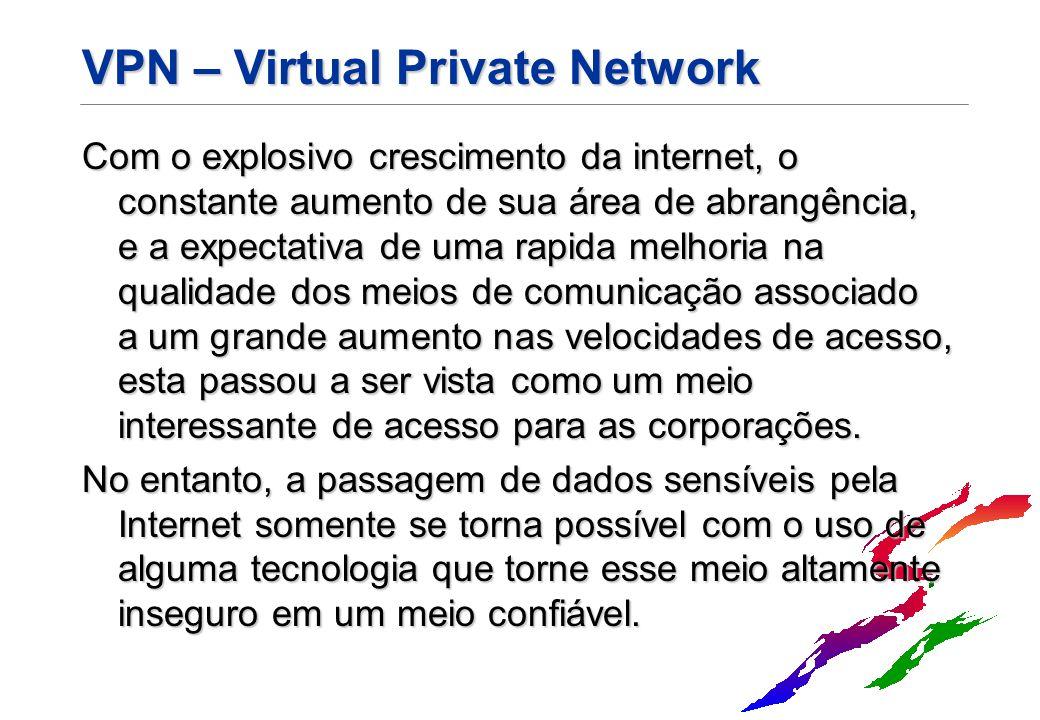 VPN – Virtual Private Network Com o explosivo crescimento da internet, o constante aumento de sua área de abrangência, e a expectativa de uma rapida m