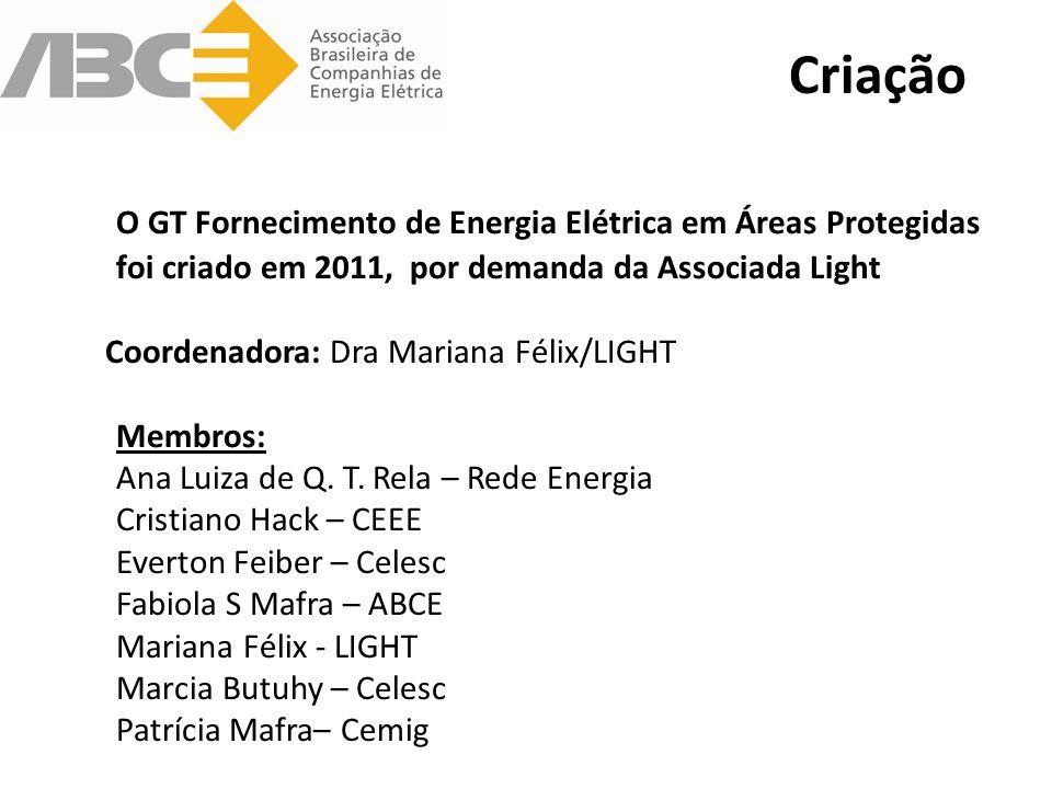 O GT Fornecimento de Energia Elétrica em Áreas Protegidas foi criado em 2011, por demanda da Associada Light Coordenadora: Dra Mariana Félix/LIGHT Membros: Ana Luiza de Q.