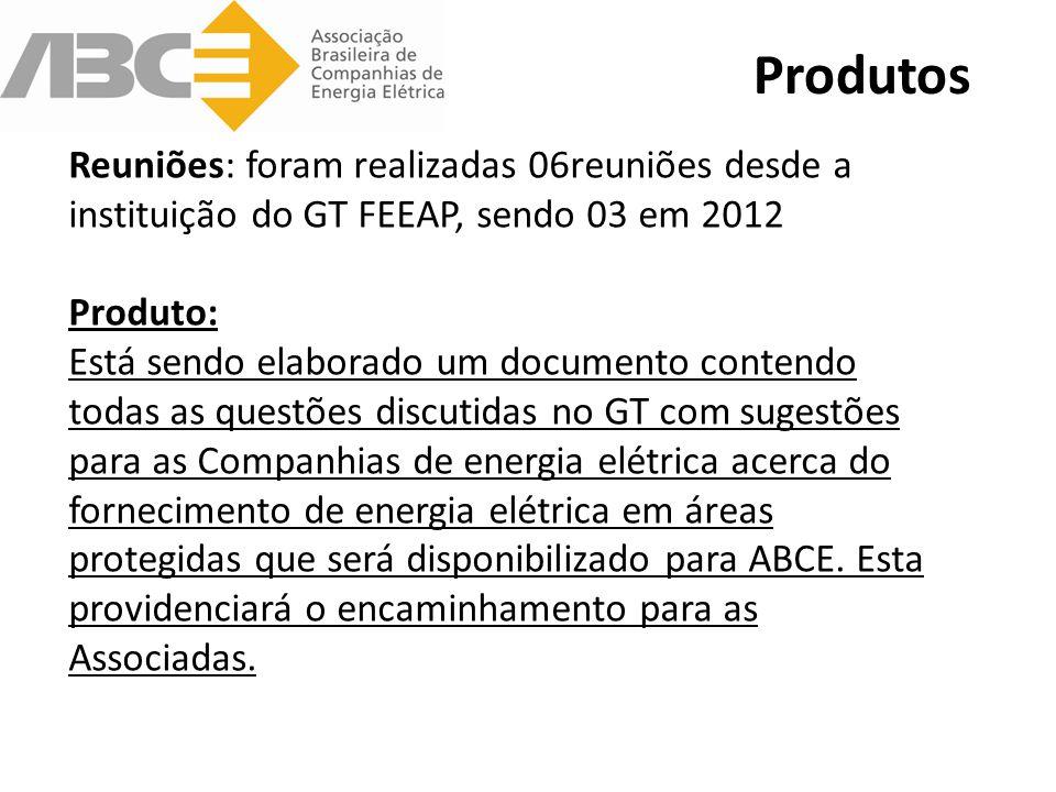 Reuniões: foram realizadas 06reuniões desde a instituição do GT FEEAP, sendo 03 em 2012 Produto: Está sendo elaborado um documento contendo todas as questões discutidas no GT com sugestões para as Companhias de energia elétrica acerca do fornecimento de energia elétrica em áreas protegidas que será disponibilizado para ABCE.