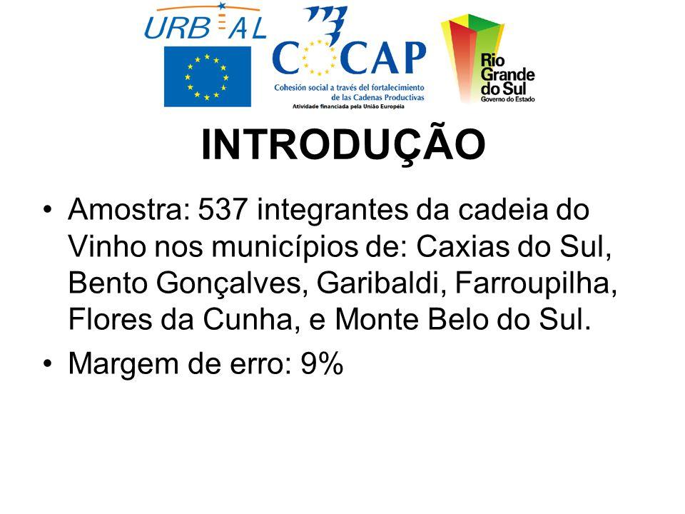 INTRODUÇÃO Amostra: 537 integrantes da cadeia do Vinho nos municípios de: Caxias do Sul, Bento Gonçalves, Garibaldi, Farroupilha, Flores da Cunha, e Monte Belo do Sul.