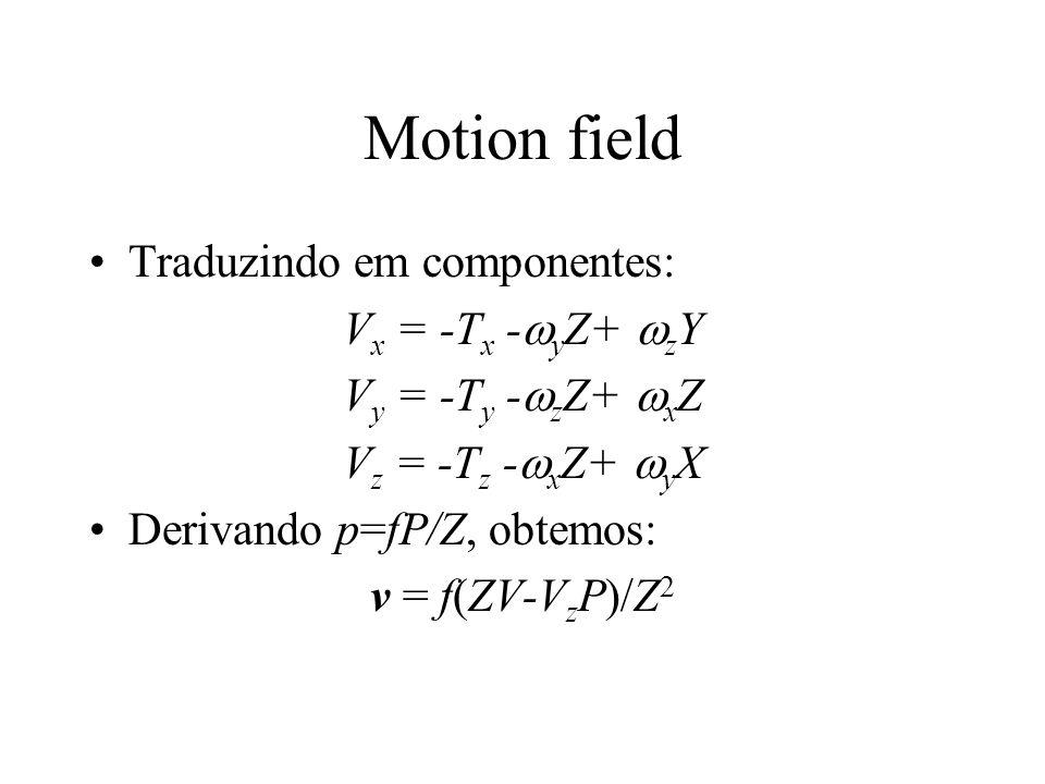 Motion field Traduzindo em componentes: V x = -T x -  y Z+  z Y V y = -T y -  z Z+  x Z V z = -T z -  x Z+  y X Derivando p=fP/Z, obtemos: v = f