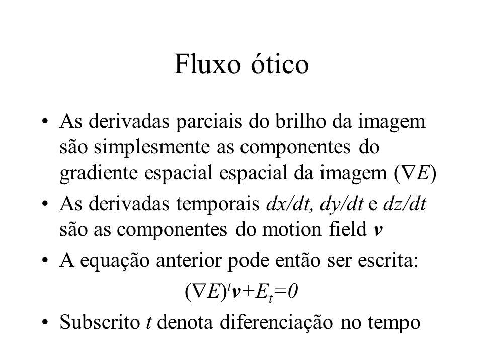 Fluxo ótico As derivadas parciais do brilho da imagem são simplesmente as componentes do gradiente espacial espacial da imagem (  E) As derivadas tem