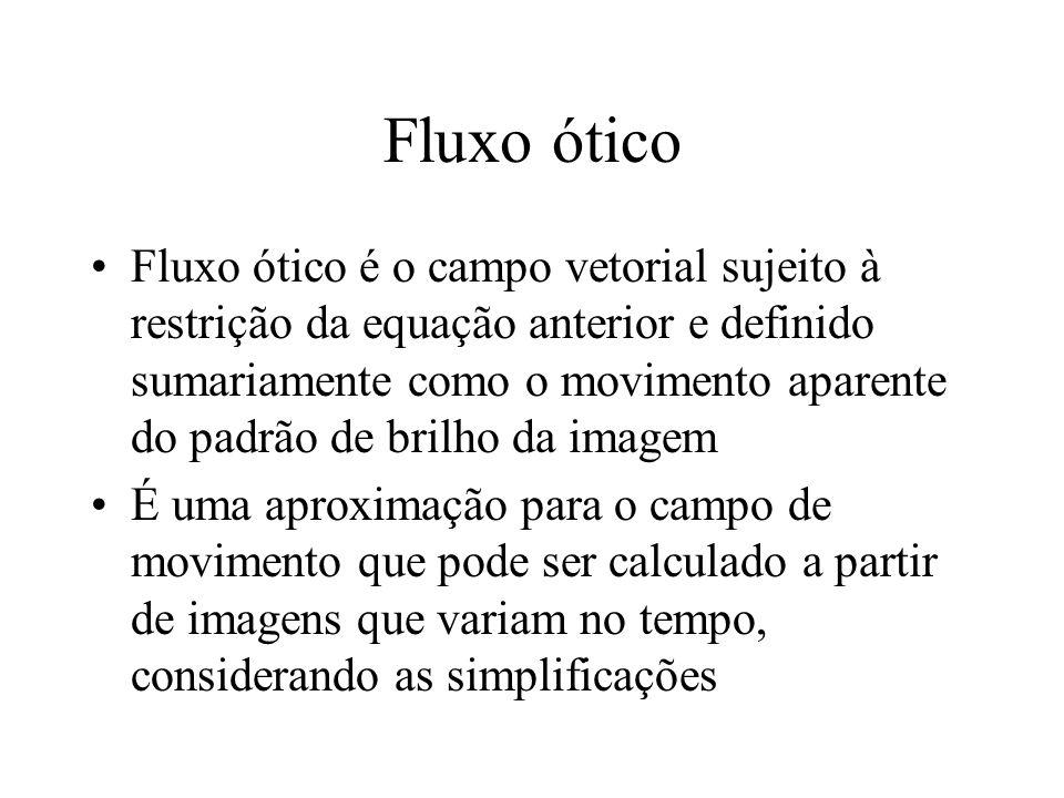 Fluxo ótico Fluxo ótico é o campo vetorial sujeito à restrição da equação anterior e definido sumariamente como o movimento aparente do padrão de bril