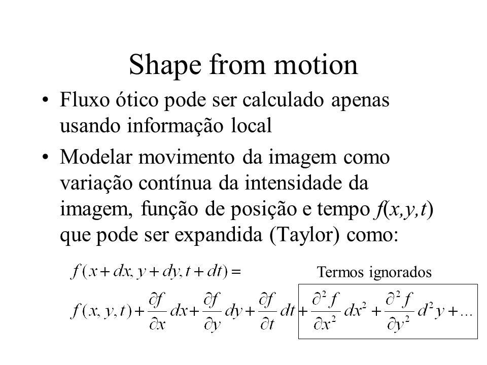 Shape from motion Fluxo ótico pode ser calculado apenas usando informação local Modelar movimento da imagem como variação contínua da intensidade da i