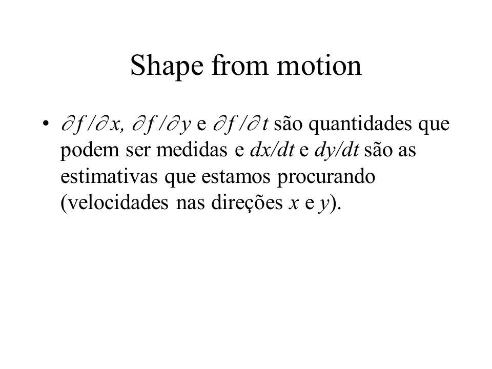 Shape from motion  f /  x,  f /  y e  f /  t são quantidades que podem ser medidas e dx/dt e dy/dt são as estimativas que estamos procurando (ve