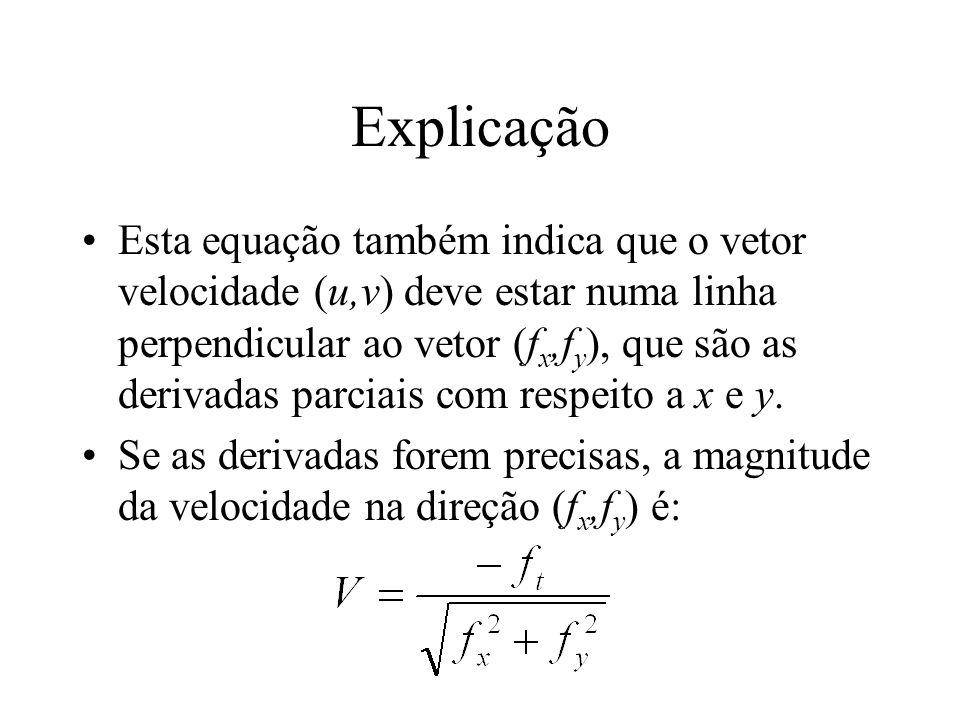 Explicação Esta equação também indica que o vetor velocidade (u,v) deve estar numa linha perpendicular ao vetor (f x,f y ), que são as derivadas parci