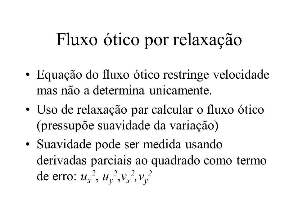 Fluxo ótico por relaxação Equação do fluxo ótico restringe velocidade mas não a determina unicamente. Uso de relaxação par calcular o fluxo ótico (pre
