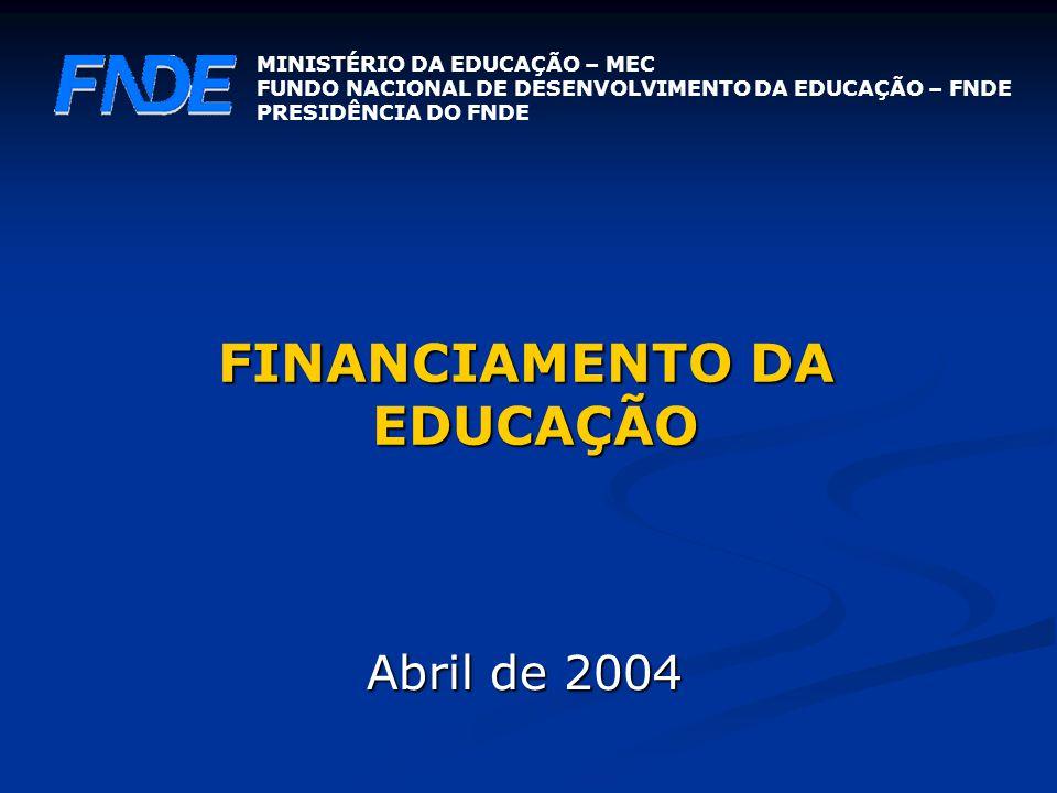 FINANCIAMENTO DA EDUCAÇÃO Abril de 2004 MINISTÉRIO DA EDUCAÇÃO – MEC FUNDO NACIONAL DE DESENVOLVIMENTO DA EDUCAÇÃO – FNDE PRESIDÊNCIA DO FNDE