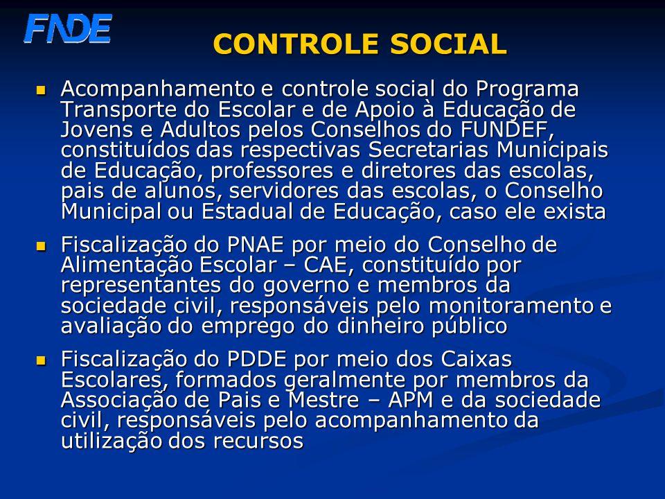 CONTROLE SOCIAL Acompanhamento e controle social do Programa Transporte do Escolar e de Apoio à Educação de Jovens e Adultos pelos Conselhos do FUNDEF