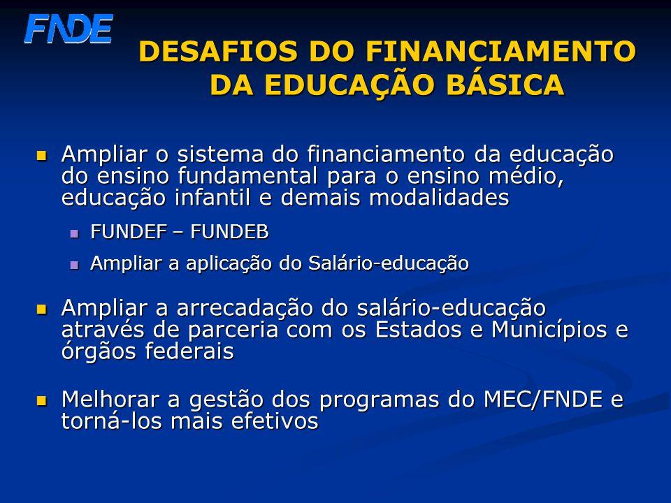 DESAFIOS DO FINANCIAMENTO DA EDUCAÇÃO BÁSICA Ampliar o sistema do financiamento da educação do ensino fundamental para o ensino médio, educação infant