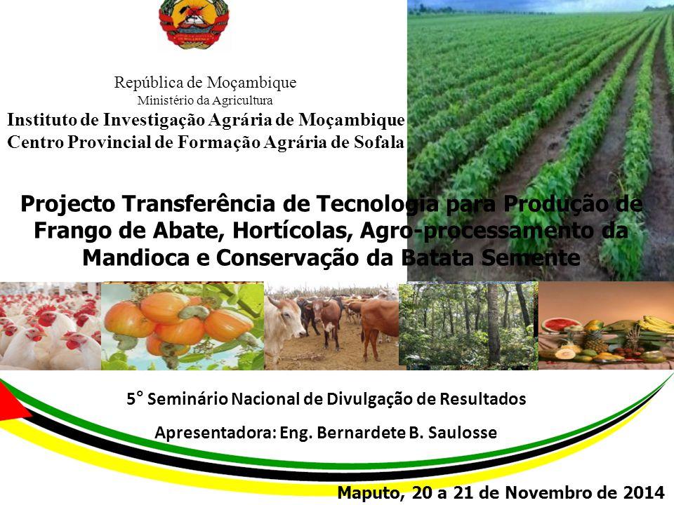 1 República de Moçambique Ministério da Agricultura Instituto de Investigação Agrária de Moçambique Centro Provincial de Formação Agrária de Sofala Pr
