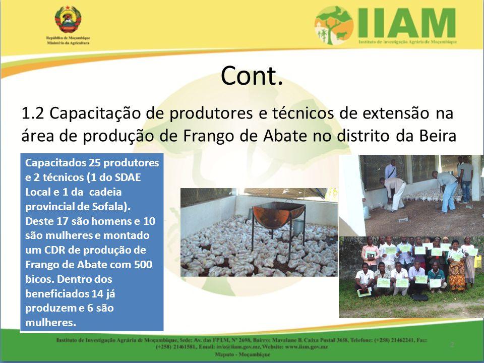 1.2 Capacitação de produtores e técnicos de extensão na área de produção de Frango de Abate no distrito da Beira Cont. Capacitados 25 produtores e 2 t