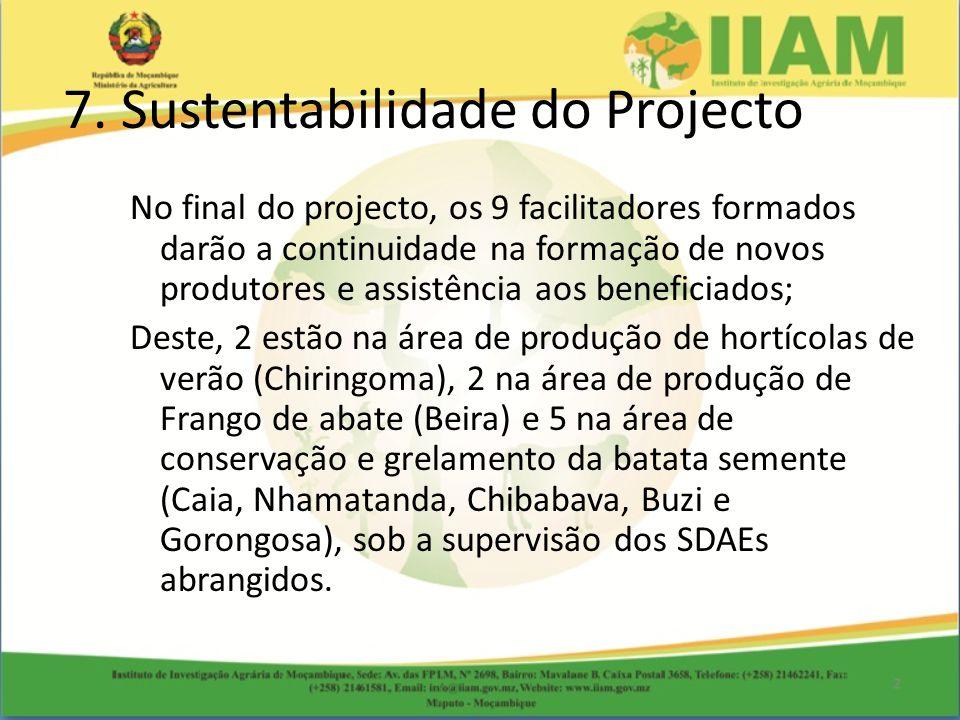 No final do projecto, os 9 facilitadores formados darão a continuidade na formação de novos produtores e assistência aos beneficiados; Deste, 2 estão na área de produção de hortícolas de verão (Chiringoma), 2 na área de produção de Frango de abate (Beira) e 5 na área de conservação e grelamento da batata semente (Caia, Nhamatanda, Chibabava, Buzi e Gorongosa), sob a supervisão dos SDAEs abrangidos.