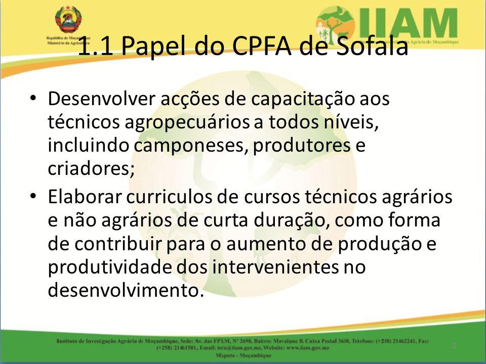 1.1 Papel do CPFA de Sofala Desenvolver acções de capacitação aos técnicos agropecuários a todos níveis, incluindo camponeses, produtores e criadores;
