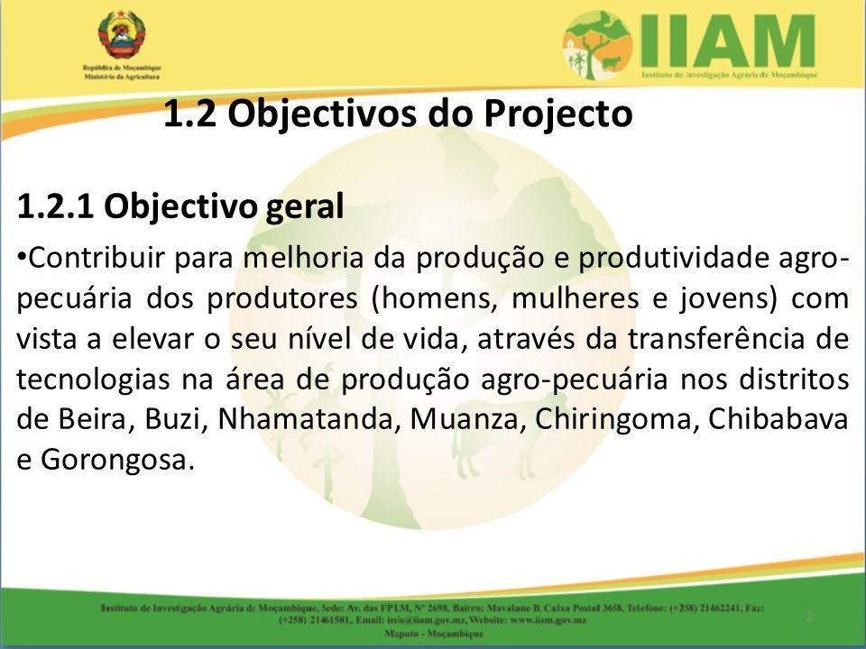 1.2.1 Objectivo geral Contribuir para melhoria da produção e produtividade agro- pecuária dos produtores (homens, mulheres e jovens) com vista a eleva