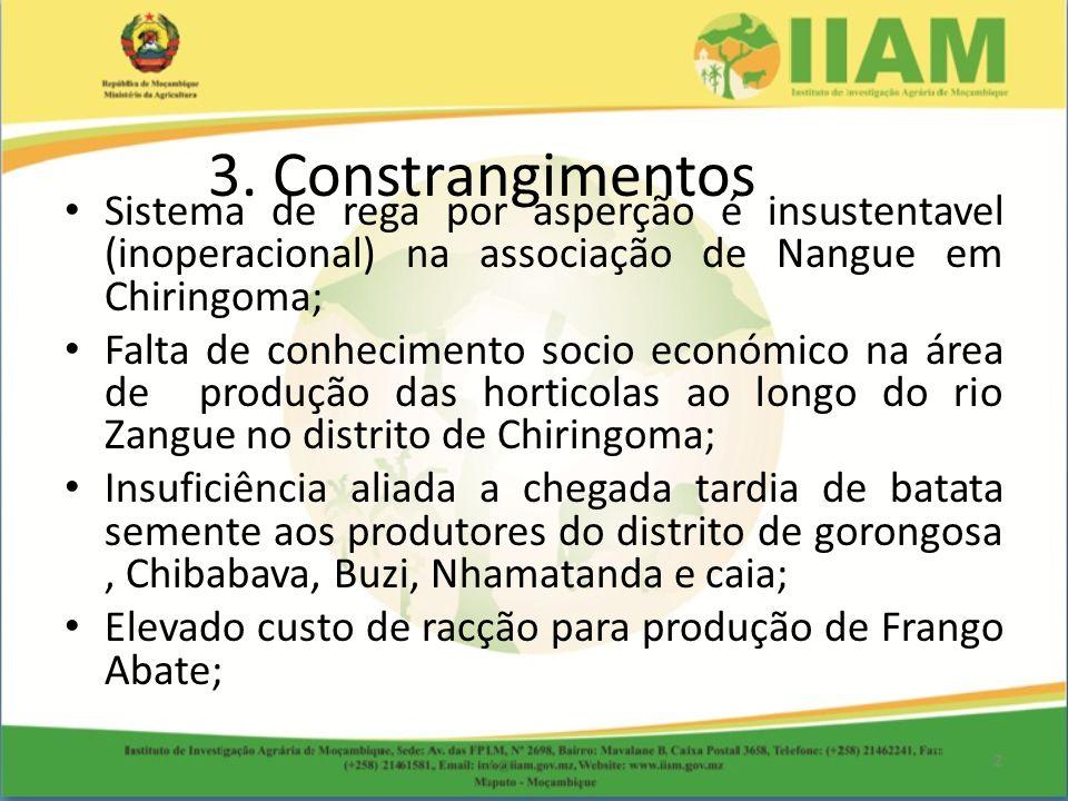 Sistema de rega por asperção é insustentavel (inoperacional) na associação de Nangue em Chiringoma; Falta de conhecimento socio económico na área de p