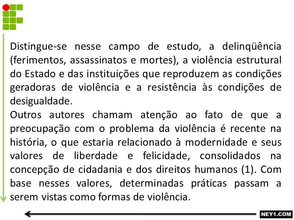 Distingue-se nesse campo de estudo, a delinqüência (ferimentos, assassinatos e mortes), a violência estrutural do Estado e das instituições que reprod