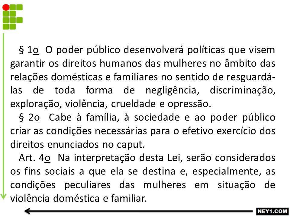 § 1o O poder público desenvolverá políticas que visem garantir os direitos humanos das mulheres no âmbito das relações domésticas e familiares no sent