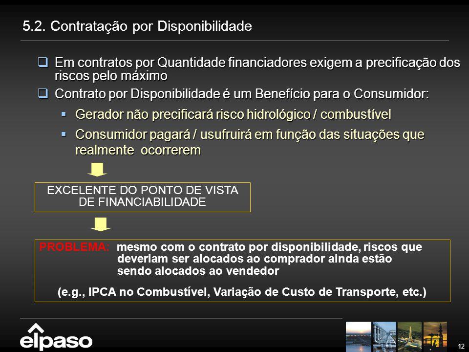 12 5.2. Contratação por Disponibilidade  Em contratos por Quantidade financiadores exigem a precificação dos riscos pelo máximo  Contrato por Dispon