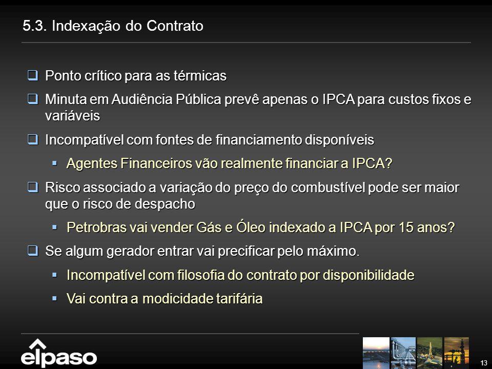 13 5.3. Indexação do Contrato  Ponto crítico para as térmicas  Minuta em Audiência Pública prevê apenas o IPCA para custos fixos e variáveis  Incom