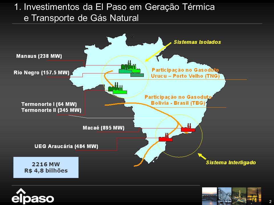 2 1. Investimentos da El Paso em Geração Térmica e Transporte de Gás Natural 2216 MW R$ 4,8 bilhões