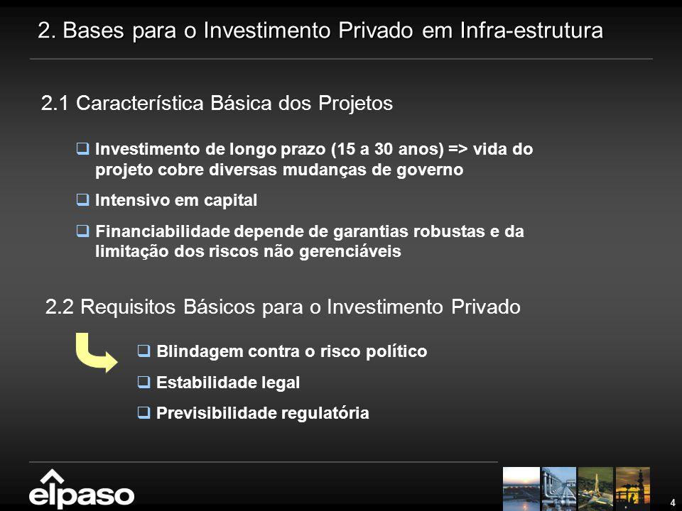 4 2. Bases para o Investimento Privado em Infra-estrutura 2.1 Característica Básica dos Projetos  Investimento de longo prazo (15 a 30 anos) => vida