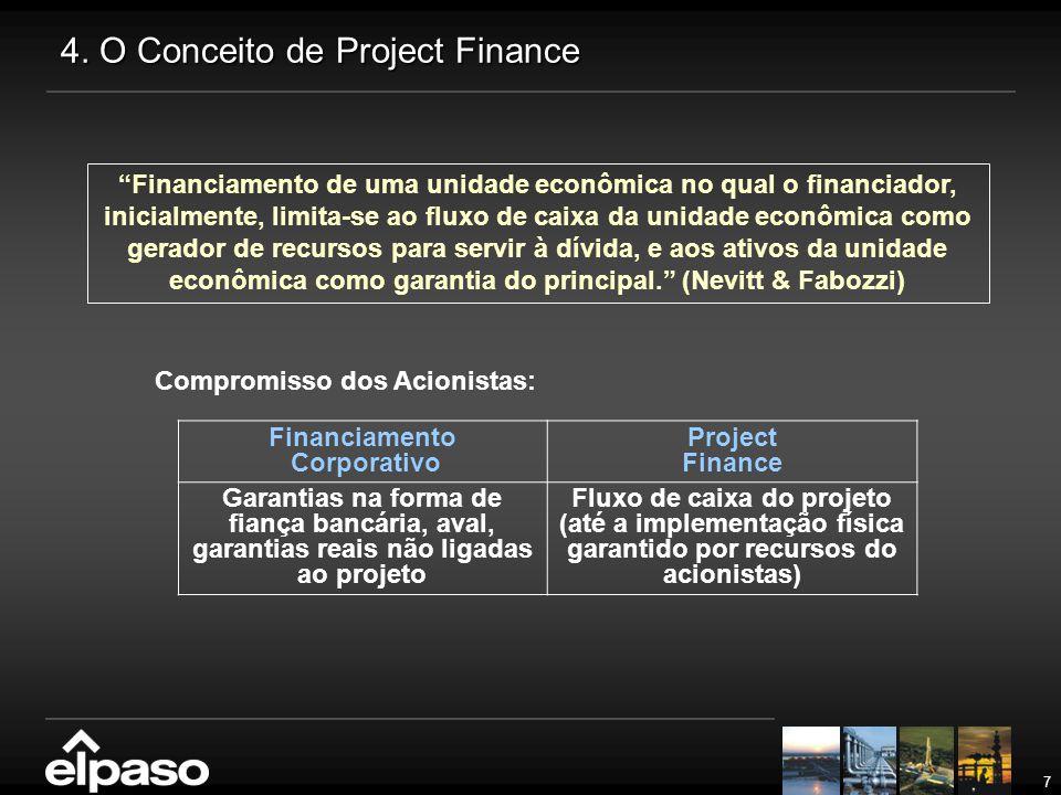 """7 4. O Conceito de Project Finance Compromisso dos Acionistas: """"Financiamento de uma unidade econômica no qual o financiador, inicialmente, limita-se"""