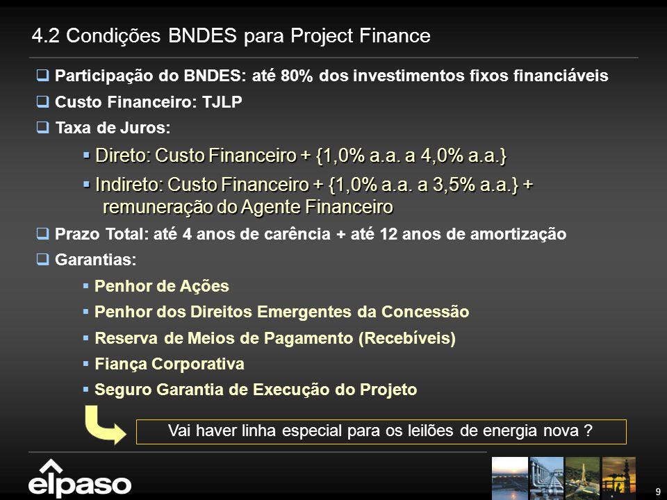9  Participação do BNDES: até 80% dos investimentos fixos financiáveis  Custo Financeiro: TJLP  Taxa de Juros:  Direto: Custo Financeiro + {1,0% a