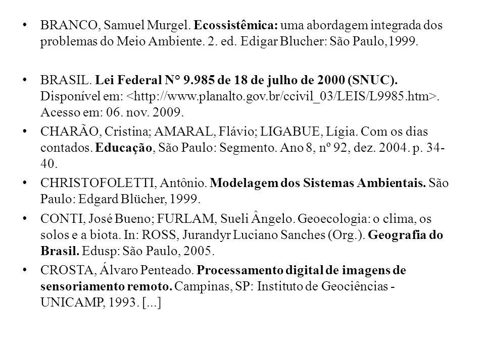 BRANCO, Samuel Murgel. Ecossistêmica: uma abordagem integrada dos problemas do Meio Ambiente.
