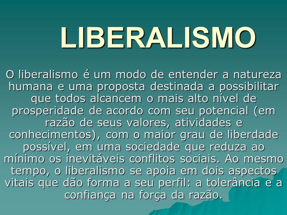 LIBERALISMO O liberalismo é um modo de entender a natureza humana e uma proposta destinada a possibilitar que todos alcancem o mais alto nível de pros