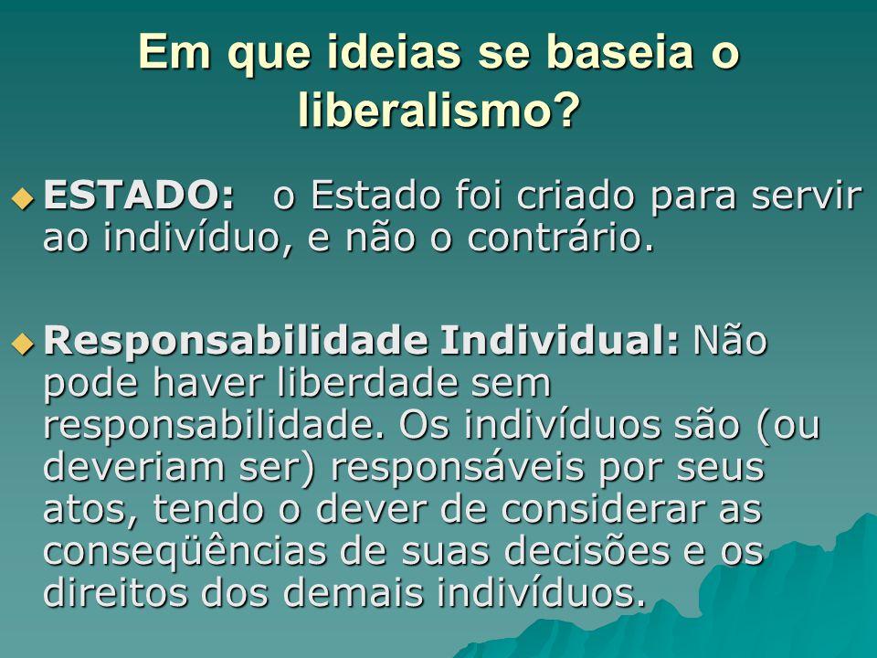Em que ideias se baseia o liberalismo?  ESTADO: o Estado foi criado para servir ao indivíduo, e não o contrário.  Responsabilidade Individual: Não p