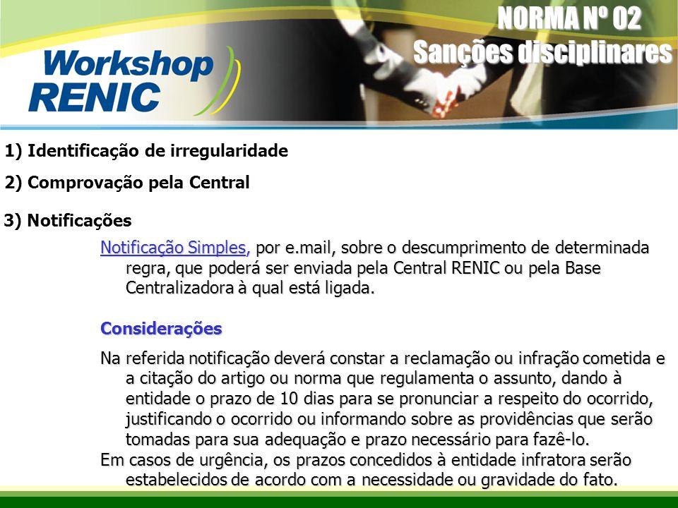 Notificação Simples, por e.mail, sobre o descumprimento de determinada regra, que poderá ser enviada pela Central RENIC ou pela Base Centralizadora à qual está ligada.