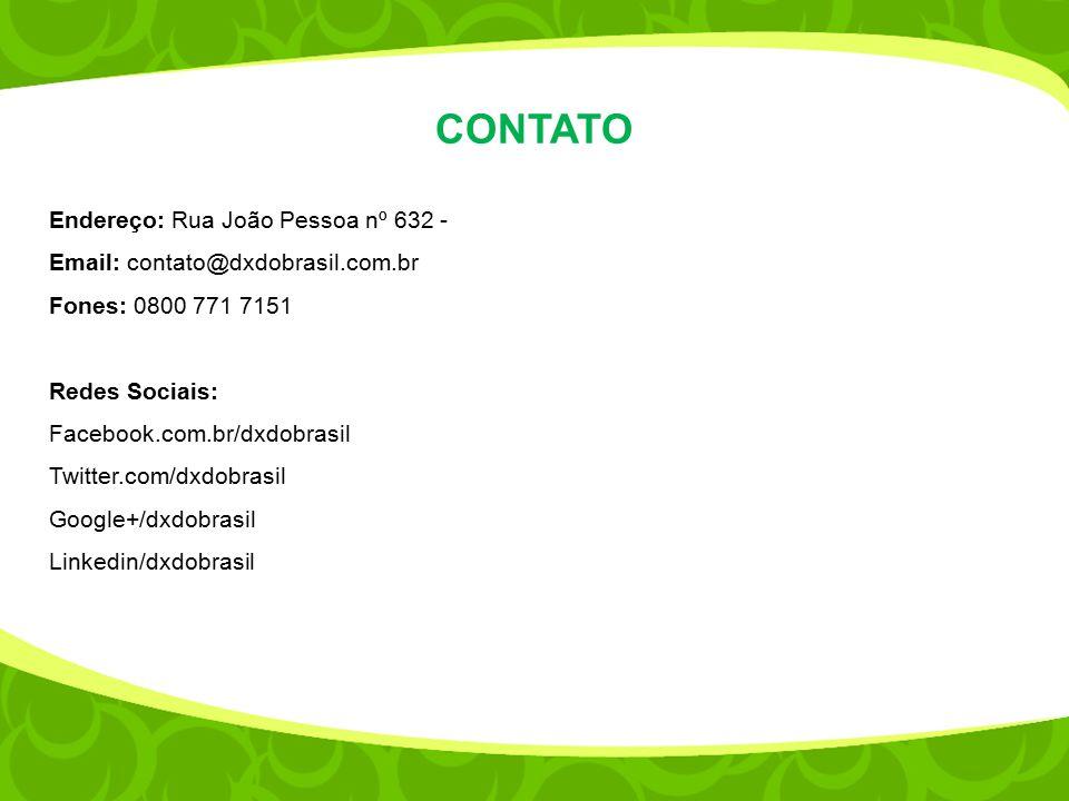 CONTATO Endereço: Rua João Pessoa nº 632 - Email: contato@dxdobrasil.com.br Fones: 0800 771 7151 Redes Sociais: Facebook.com.br/dxdobrasil Twitter.com