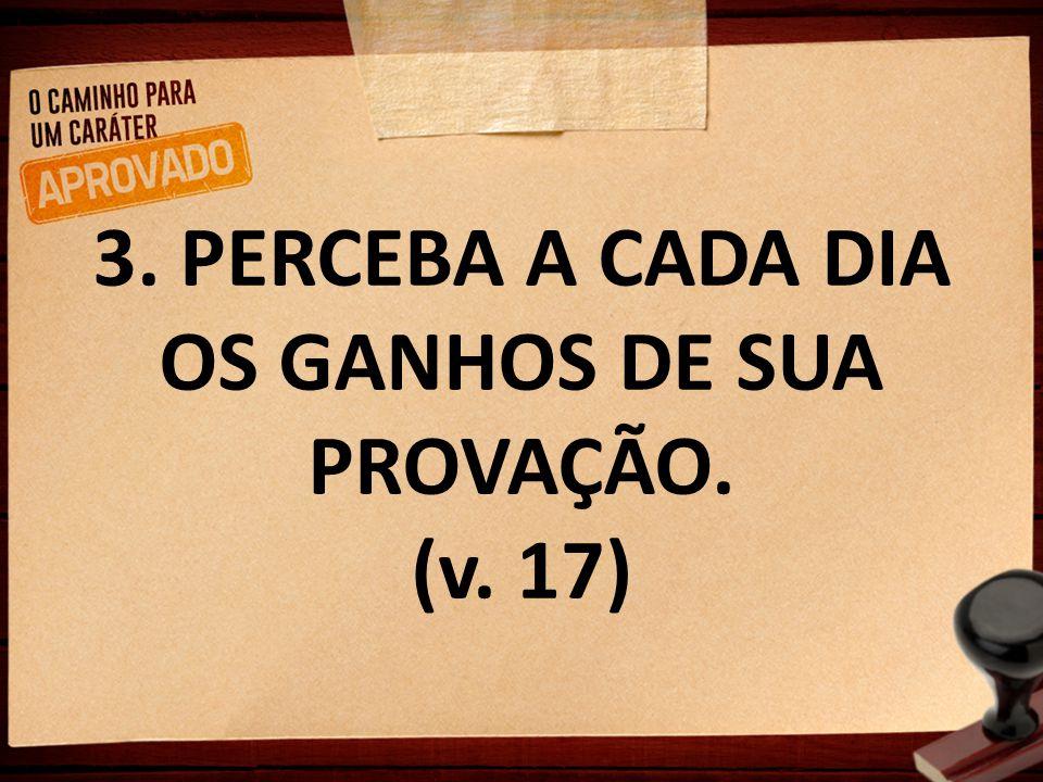 3. PERCEBA A CADA DIA OS GANHOS DE SUA PROVAÇÃO. (v. 17)