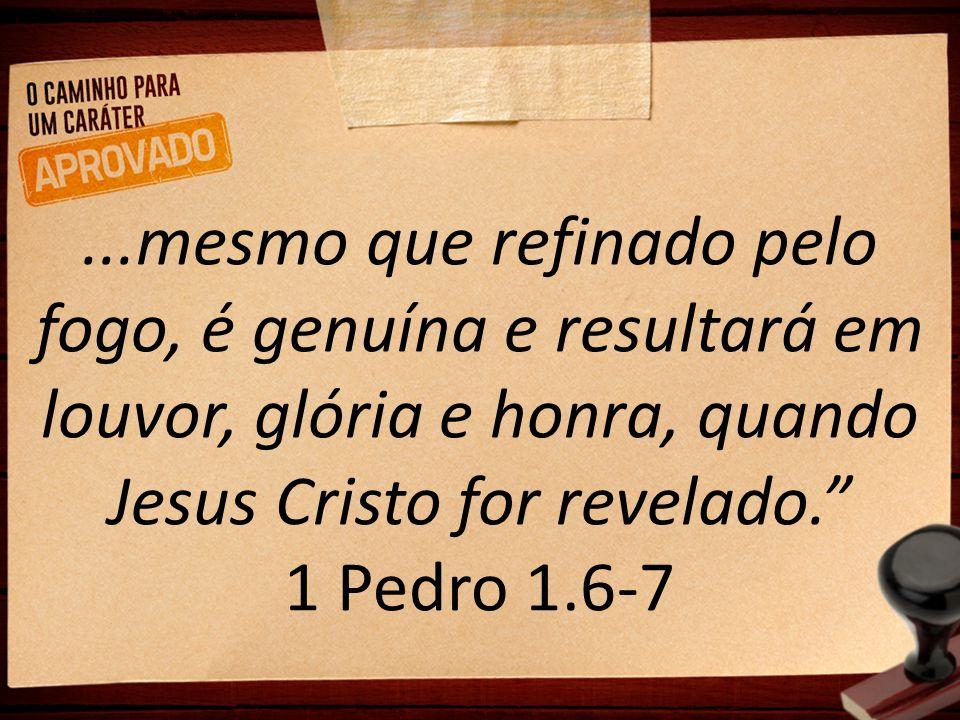 """...mesmo que refinado pelo fogo, é genuína e resultará em louvor, glória e honra, quando Jesus Cristo for revelado."""" 1 Pedro 1.6-7"""