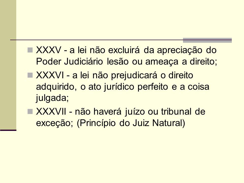 XXXV - a lei não excluirá da apreciação do Poder Judiciário lesão ou ameaça a direito; XXXVI - a lei não prejudicará o direito adquirido, o ato jurídico perfeito e a coisa julgada; XXXVII - não haverá juízo ou tribunal de exceção; (Princípio do Juiz Natural)