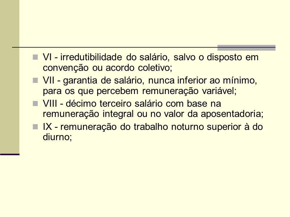 VI - irredutibilidade do salário, salvo o disposto em convenção ou acordo coletivo; VII - garantia de salário, nunca inferior ao mínimo, para os que p