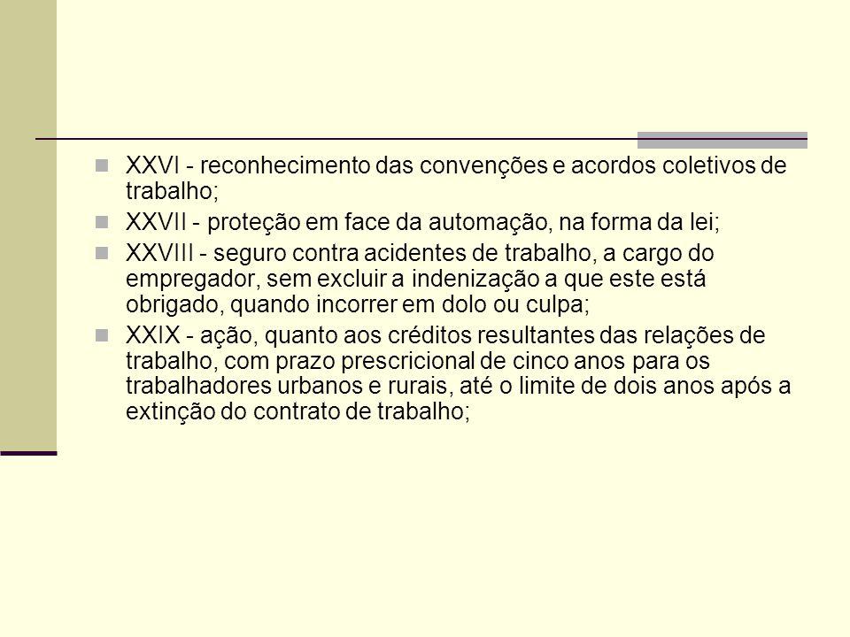 XXVI - reconhecimento das convenções e acordos coletivos de trabalho; XXVII - proteção em face da automação, na forma da lei; XXVIII - seguro contra a