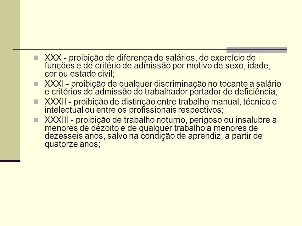 XXX - proibição de diferença de salários, de exercício de funções e de critério de admissão por motivo de sexo, idade, cor ou estado civil; XXXI - proibição de qualquer discriminação no tocante a salário e critérios de admissão do trabalhador portador de deficiência; XXXII - proibição de distinção entre trabalho manual, técnico e intelectual ou entre os profissionais respectivos; XXXIII - proibição de trabalho noturno, perigoso ou insalubre a menores de dezoito e de qualquer trabalho a menores de dezesseis anos, salvo na condição de aprendiz, a partir de quatorze anos;