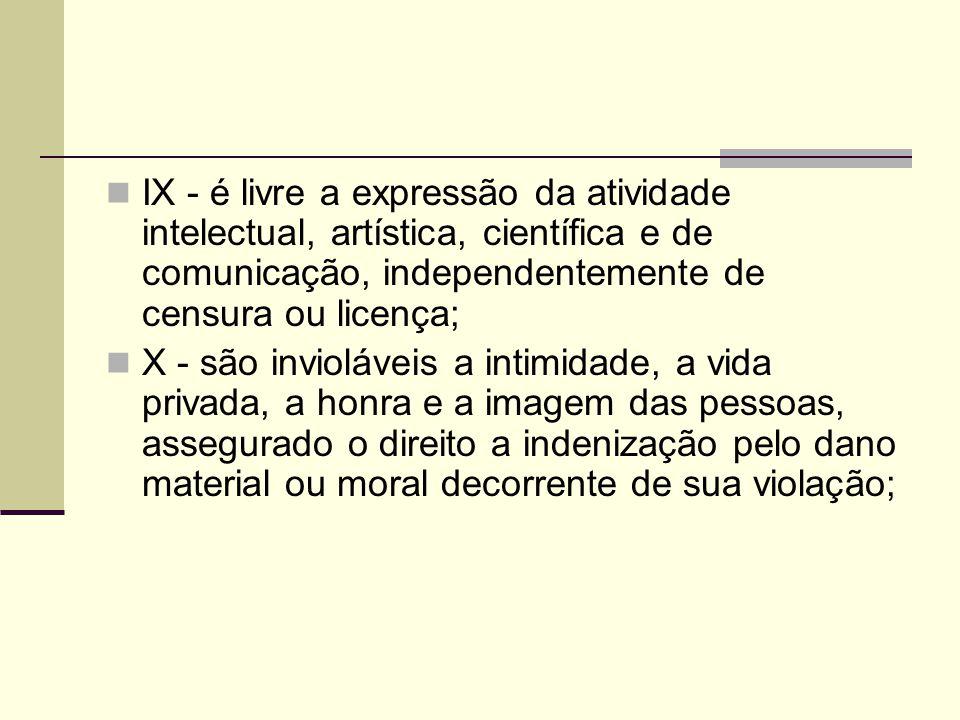 IX - é livre a expressão da atividade intelectual, artística, científica e de comunicação, independentemente de censura ou licença; X - são inviolávei