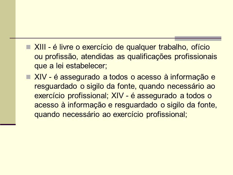 XIII - é livre o exercício de qualquer trabalho, ofício ou profissão, atendidas as qualificações profissionais que a lei estabelecer; XIV - é assegura