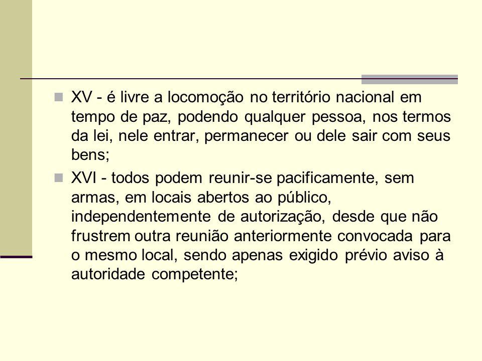 XV - é livre a locomoção no território nacional em tempo de paz, podendo qualquer pessoa, nos termos da lei, nele entrar, permanecer ou dele sair com