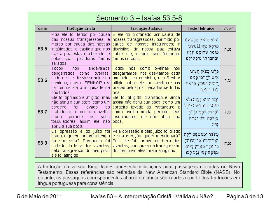 Segmento 3 – Isaías 53:5-8 A tradução da versão King James apresenta indicações para passagens cruzadas no Novo Testamento.