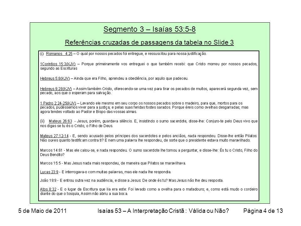 Segmento 3 – Isaías 53:5-8 Referências cruzadas de passagens da tabela no Slide 3 5 de Maio de 2011Isaías 53 – A Interpretação Cristã : Válida ou Não.