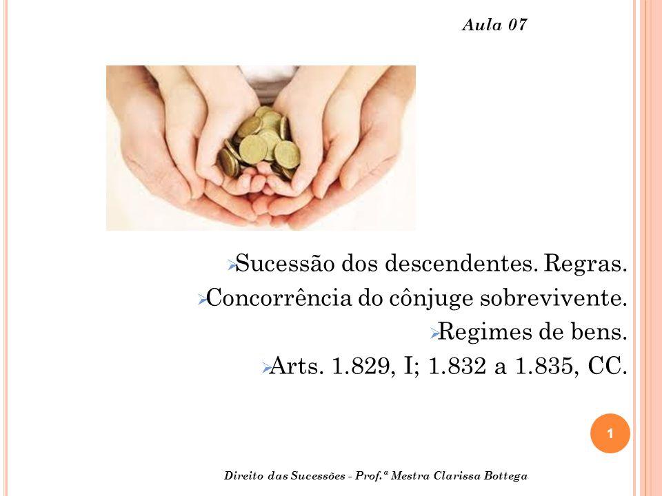 2 Direito das Sucessões - Prof.ª M estra Clarissa Bottega Aula 07 DA SUCESSÃO DOS DESCENDENTES: ver art.