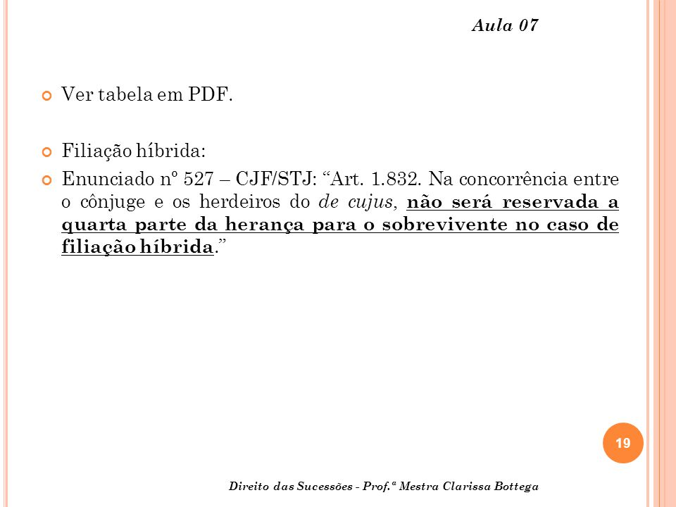 19 Aula 07 Ver tabela em PDF.Filiação híbrida: Enunciado nº 527 – CJF/STJ: Art.