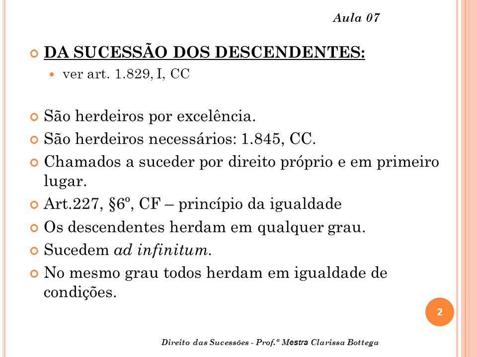3 Direito das Sucessões - Prof.ª M estra Clarissa Bottega Aula 07 Os mais próximos em grau excluem os mais remotos (art.