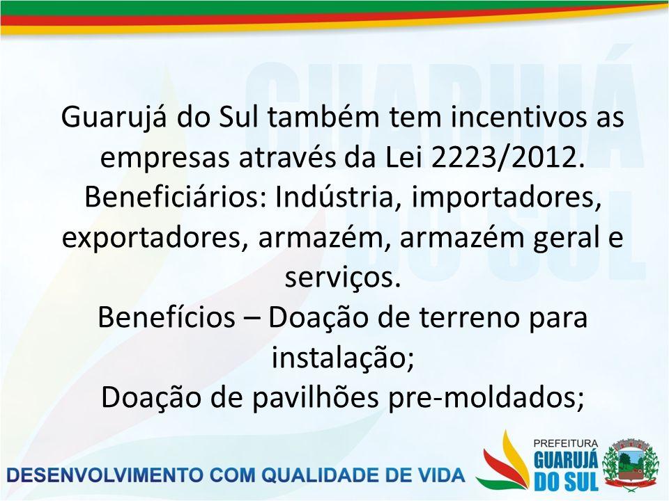 Infraestrutura – água, energia, terraplenagem; Tratamento diferenciado na tributação municipal; PROJETOS Pavilhão Centergroup incubadora de empresas.